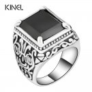 Hot Black  Rings Mens Filled Silver Color AAA Resin Wedding Ring For Men Bi