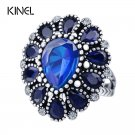 Fashion Blue Crystal Flower Rings For Women Color Silver Vintage Big Weddin