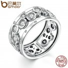 BAMOER Wedding Ring Real 925 Sterling Silver Classic Round Circle Big Finge