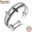 BAMOER New Collection 925 Sterling Silver Double Layer Cross Symbol Finger