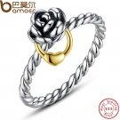 BAMOER Genuine 925 Sterling Silver Finger Ring with  Gold Color Heart Charm