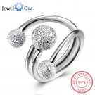 Surround Design Ball Adjustable Ring Solid 925 Sterling Silver Jewelry Wome