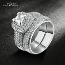 Top Quality Silver Color AAA+ Cubic Zirconia Rings Sets Fashion Brand Jewel