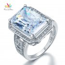 Peacock Star 8.5 Carat Solid 925 Sterling Silver Wedding Engagement Ring Je