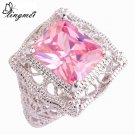 lingmei Wholesale Sweet Fashion Pink CZ Silver Color Ring Size 6 7 8 9 10 1