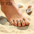 IF YOU 3PCS/Set Summer Beach Flower Toe Ring Set Women Vintage Charm Silver