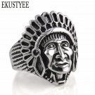 Exaggeration Men Indian Face Rings Steampunk Biker Bague Antique Silver Tib