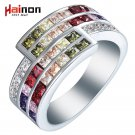 silver plated rings us 7 8 9 New vintage colorful purple green red pink cha