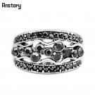 Cluster Flower Plant Rhinestone Rings For Women Vintage Silver Plated Fashi