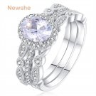 Newshe 1.8 Ct 3 Pcs Wedding Ring Set Solid 925 Sterling Silver Engagement B