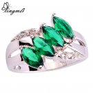 lingmei Wholesale Unisex Green  White CZ Silver Color Ring Size 6 7 8 9 10