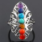 Silver Plated 7 Chakra Healing Hollow Thumb Reiki Natural Stones Ring for W