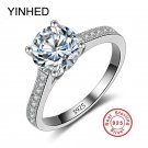 YINHED 100% 925 Sterling Silver Wedding Rings for Women 1 Carat Cubic Zirco