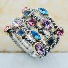 Blue&Pink&Purple Crystal Zircon 925 Sterling Silver Top Quality Fancy Jewel