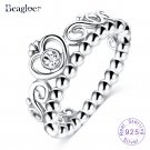 Beagloer Exquisite 925 100% Solid Sterling Silver Ring Princess Crown Stack