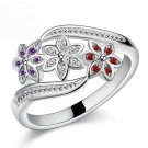 JEXXI Three Color CZ Flower Ring for Women Girls Fashion 925 Sterling Silve