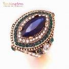 Vintage ethnic big ring luxury blue green crystal rhinestone ancient Silver