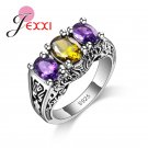 JEXXI New Design Colorful Cubic Zirconia Ring Fashion 925 Sterling Silver W