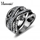 Viennois New Vintage Silver Color Women Multilayer Wide Rings Retro Rhinest