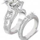 Newshe 2.3 Ct Round Cut CZ Genuine 925 Sterling Silver Wedding Ring Sets En