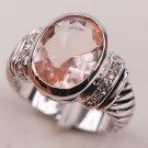 Morganite Fashion 925 Sterling Silver Woman Ring Size 6 7 8 9 10 F635 Fashi