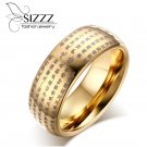 Chinese Words Buddhist Texts Dome Ring for Mens Woman 8MM Tungsten Carbide