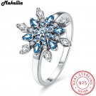 Authentic 925 100% Solid Sterling Silver Colorful snowflakes Finger Ring Or