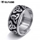 10mm Mens Womens Stainless Steel Ring Band Silver Black Celtic Knot jewelry