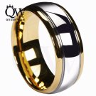 Queenwish 8mm Tungsten Carbide Wedding Band Gold Silver Dome Gunmetal Brida