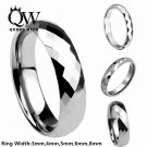 Queenwish Polished Multi Faceted Tungsten Carbide Promise Ring Anniversary