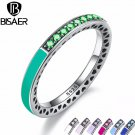 Genuine 925 Sterling Silver 7 Colors Radiant Hearts, Bright Mint Enamel & R