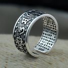 GZ Men Rings 925 Sterling Silver anillo Punk Six words mantra Real S999 Sol