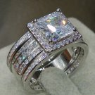 Size 5 11 Wholesale Princess Cut Luxury Jewelry 3 IN 1 925 Sterling Silver