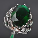 Unique Design Green Stone Cubic Zirconia Stamped 925 Sterling Silver Jewelr