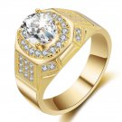 Deluxe men ring sterling silver gold color wedding Cubic Zircon rings male