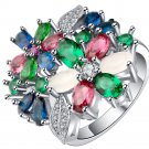 Brand Female Pink blue flower Ring Silver color Filled Vintage Wedding Enga