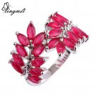 lingmei Wholesale Alluring Red Fashion Silver Ring Size 7 8 9 10 Lover Fang