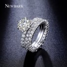 NEWBARK 3 Circles Ring 1.5 Carat Round CZ 6 Prongs Setting Silver Color Pro