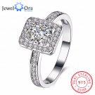 Solid 925 Sterling Silver Engagement Ring Luxurious Female Jewelry Fashion