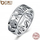 BAMOER High Quality 925 Sterling Silver Flower Leaf Leaves Story ,Clear CZ