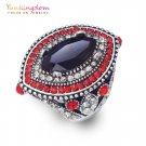 Bohemia ethnic big ring luxury black red crystal rhinestone ancient silver