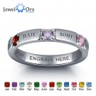 Personalized 925 Sterling Silver CZ Name Ring DIY Birthstone Ring Customize