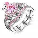 PATICO Fashion Heart Shape 925 Sterling Silver Ring Princess Pink Rhineston