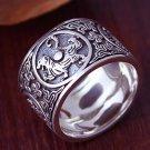 Sterling Silver 925 Ring Men Vintage Men Rings 4 Creatures Dragon Tiger Bir