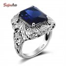 Szjinao Wholesale Flower Big 925 Sterling Silver Ring For Women Blue Stone