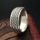 Woven Band Design Spinner Ring Men 100% Real 925 Sterling Silver Ring Simpl
