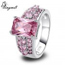 lingmei Gorgeous Jewelry Wholeale Green Pink CZ Silver Color Ring Size 7 8