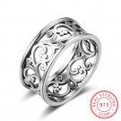 Solid 925 Sterling Silver Rings Vine Wave Pattern 8.5mm Width Vintage Rings