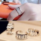 925 Sterling Silver Crystal Roman Numeral Ring Wedding Brand Ring Jewelry C
