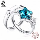 ORSA JEWELS Pure Silver 925 Rings Sets with 1.5ct Star Crystal Sterling Sil